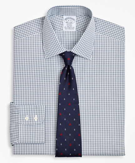 Stretch Regent Fitted Dress Shirt, Non-Iron Double-Windowpane