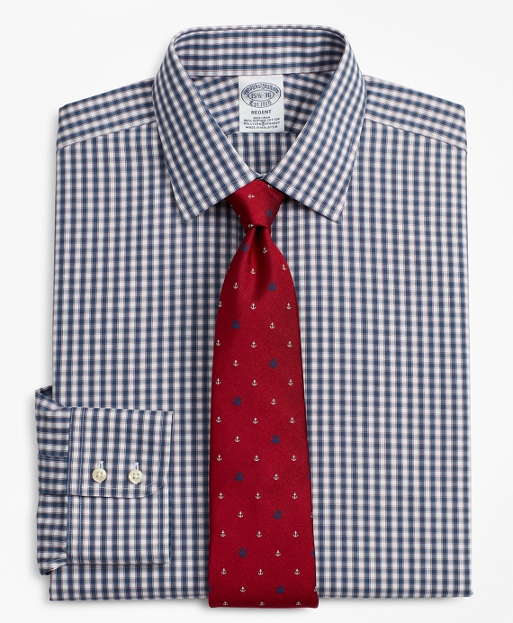 Stretch Regent Fitted Dress Shirt, Non-Iron Check Navy