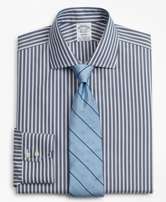 Stretch Regent Fitted Dress Shirt, Non-Iron Stripe Navy