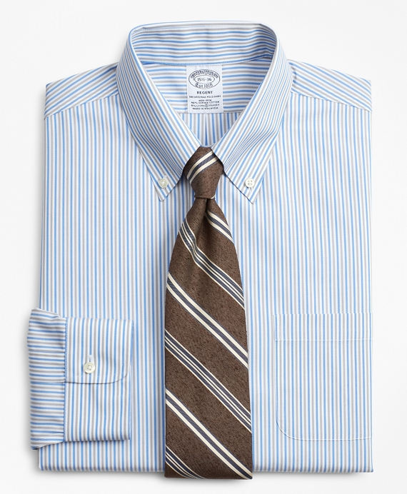 Stretch Regent Fitted Dress Shirt, Non-Iron Alternating Stripe Blue