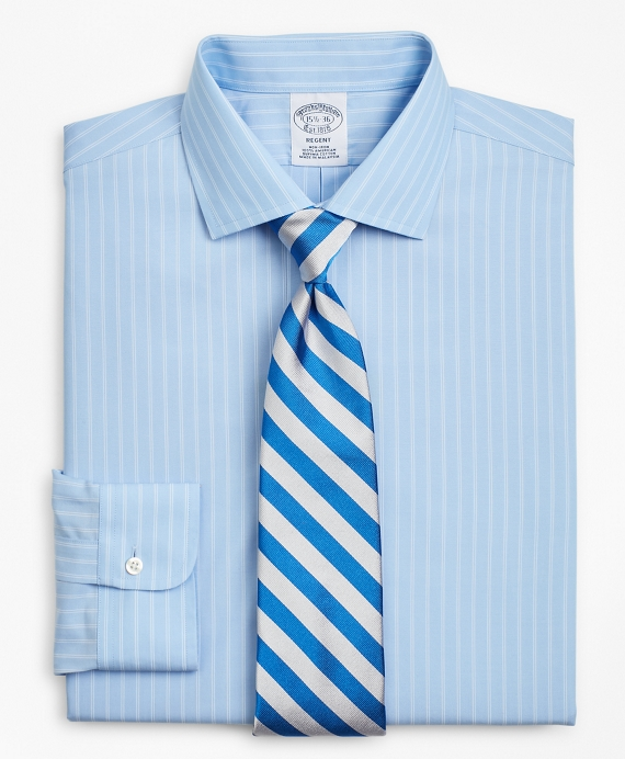 Regent Fitted Dress Shirt, Non-Iron Double-Stripe Blue