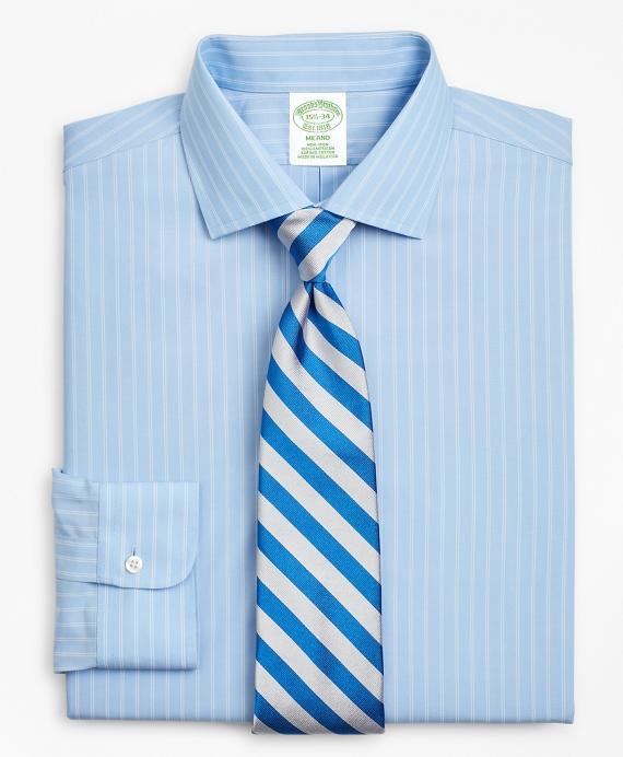 Milano Slim-Fit Dress Shirt, Non-Iron Double-Stripe Blue