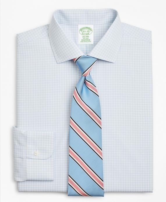 Milano Slim-Fit Dress Shirt, Non-Iron Triple-Windowpane Blue
