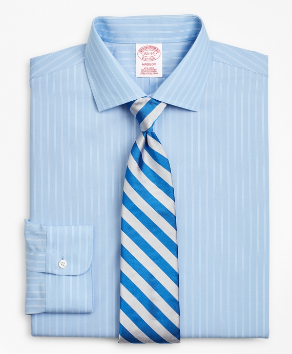 Madison Classic-Fit Dress Shirt, Non-Iron Double-Stripe Blue