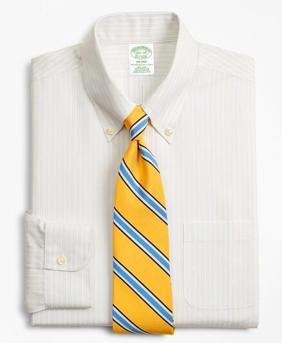 Milano Slim-Fit Dress Shirt, Non-Iron Stripe Light Yellow