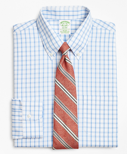 Stretch Milano Slim-Fit Dress Shirt, Non-Iron Outline Windowpane