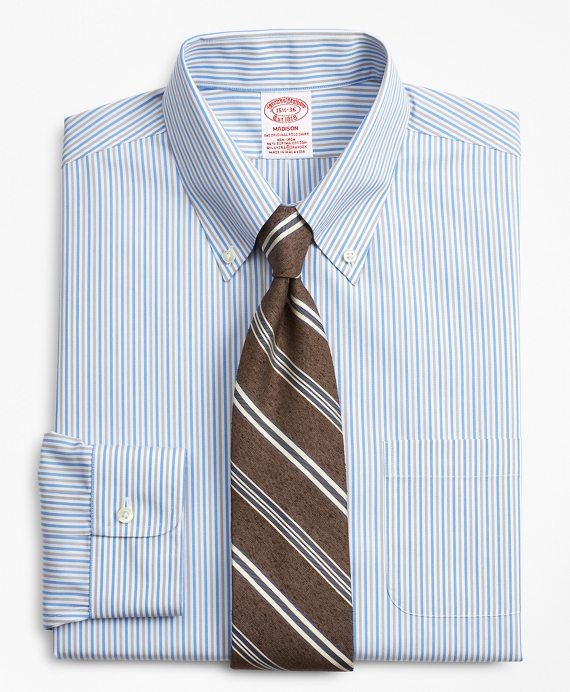 Stretch Madison Relaxed-Fit Dress Shirt, Non-Iron Alternating Stripe Blue