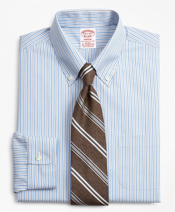 Stretch Madison Classic-Fit Dress Shirt, Non-Iron Alternating Stripe Blue