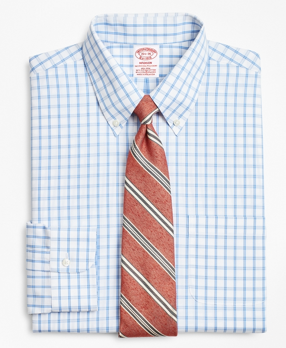 Stretch Madison Relaxed-Fit Dress Shirt, Non-Iron Outline Windowpane Blue