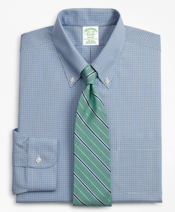 Milano Slim-Fit Dress Shirt, Non-Iron Micro-Check Blue