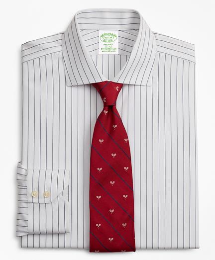 Stretch Milano Slim-Fit Dress Shirt, Non-Iron Pinstripe