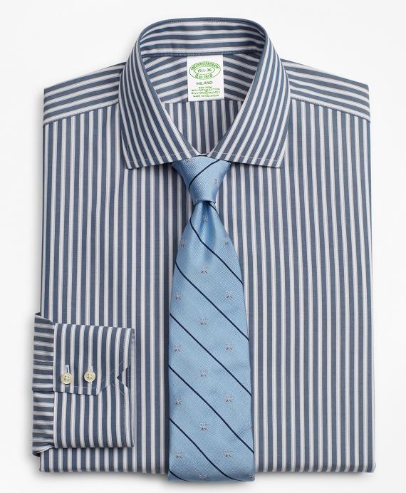 Stretch Milano Slim-Fit Dress Shirt, Non-Iron Stripe Navy