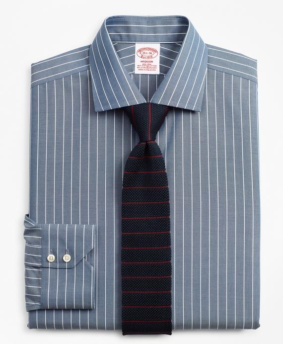 Stretch Madison Classic-Fit Dress Shirt, Non-Iron Pinstripe Navy