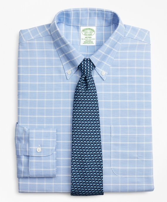 BrooksCool® Milano Slim-Fit Dress Shirt, Non-Iron Windowpane Medium Blue