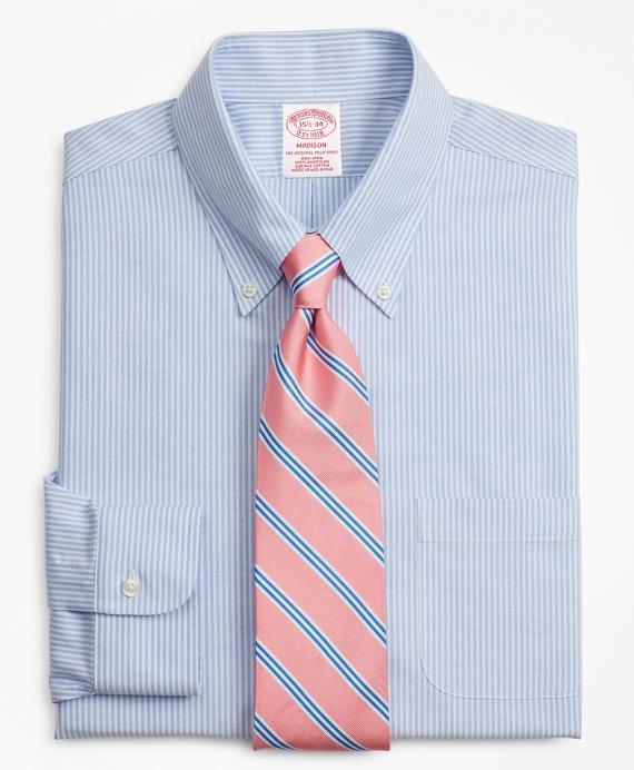 BrooksCool® Madison Classic-Fit Dress Shirt, Non-Iron Stripe Blue
