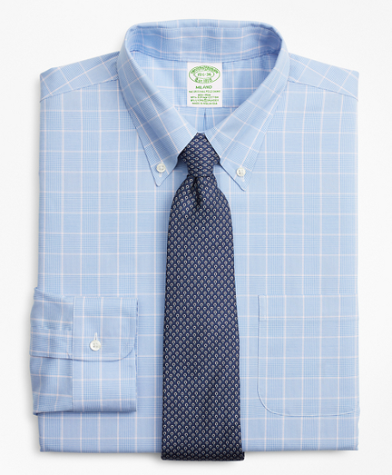 Stretch Milano Slim-Fit Dress Shirt, Non-Iron Micro-Check