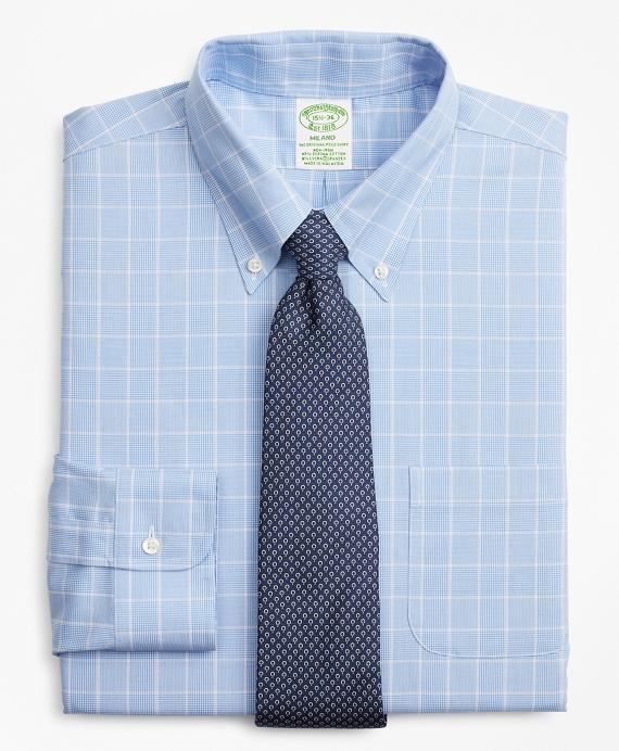 Stretch Milano Slim-Fit Dress Shirt, Non-Iron Micro-Check Blue