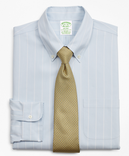Stretch Milano Slim-Fit Dress Shirt, Non-Iron Pinstripe