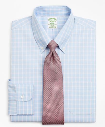 Stretch Milano Slim-Fit Dress Shirt, Non-Iron Windowpane
