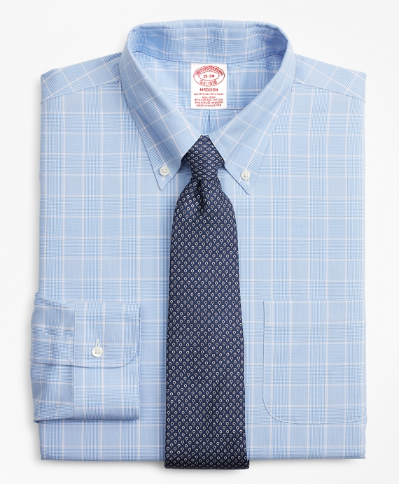 Stretch Madison Relaxed-Fit Dress Shirt, Non-Iron Micro-Check Blue