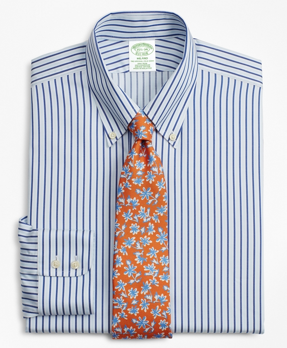 Milano Slim-Fit Dress Shirt, Non-Iron Alternating Stripe Blue