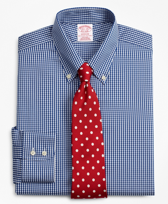 Madison Classic-Fit Dress Shirt, Non-Iron Gingham Blue
