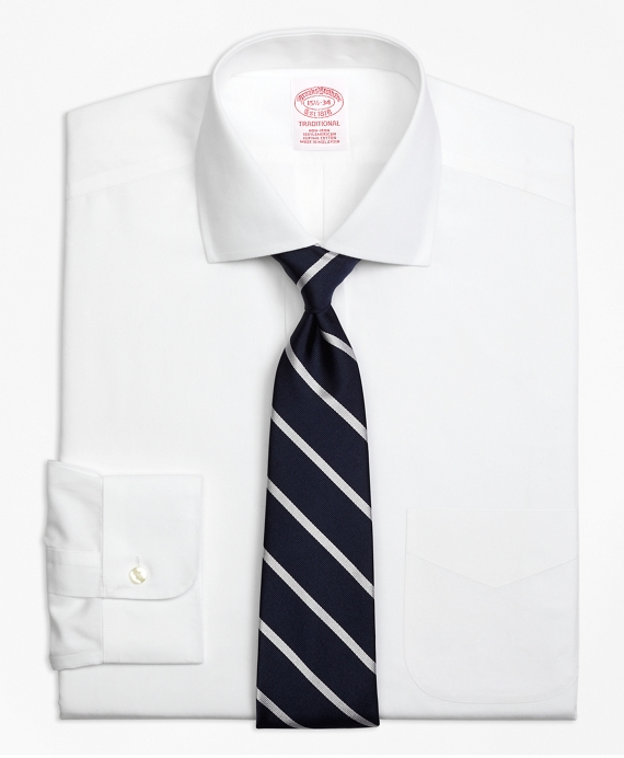 Traditional Extra-Relaxed-Fit Dress Shirt, Non-Iron Spread Collar WHITE
