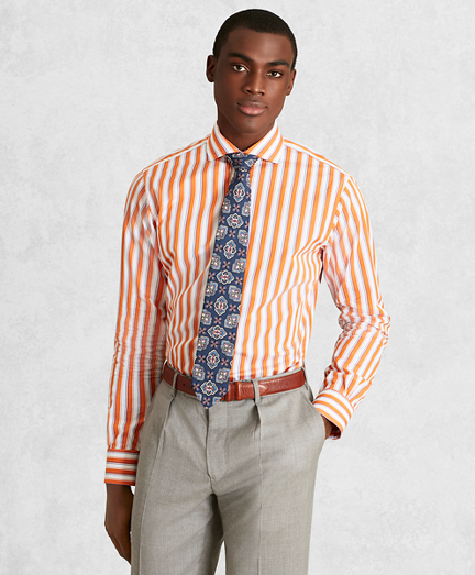 Golden Fleece® Regent Fitted Dress Shirt, English Collar Multi-Stripe Poplin