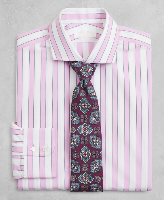 Golden Fleece® Milano Slim-Fit Dress Shirt, English Collar Multi-Stripe Poplin Pink
