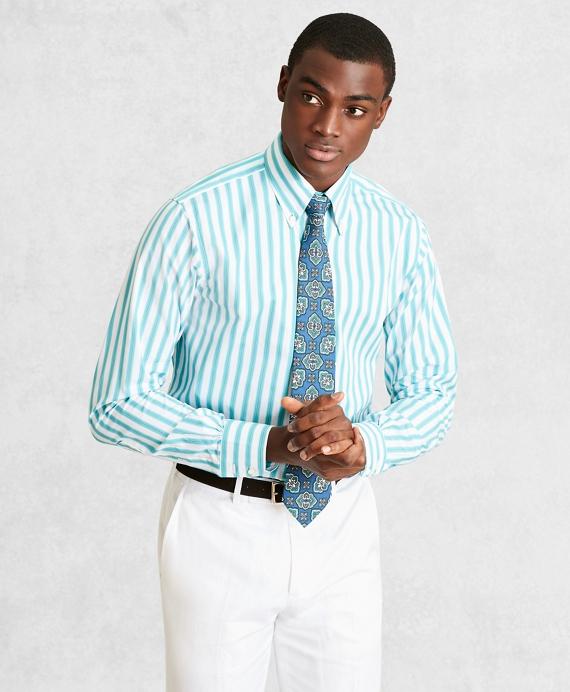 Golden Fleece® Regent Fitted Dress Shirt, Button-Down Collar Multi-Stripe Poplin Aqua