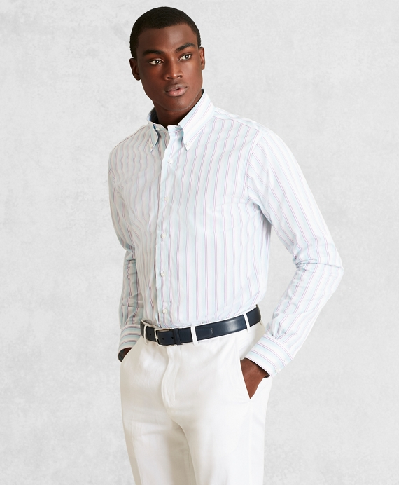 Golden Fleece® Regent Fitted Dress Shirt, Button-Down Collar Multi-Stripe Poplin Mint