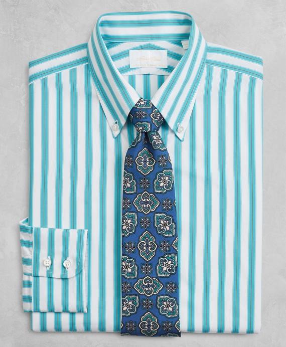 Golden Fleece® Milano Slim-Fit Dress Shirt, Button-Down Collar Multi-Stripe Poplin Aqua