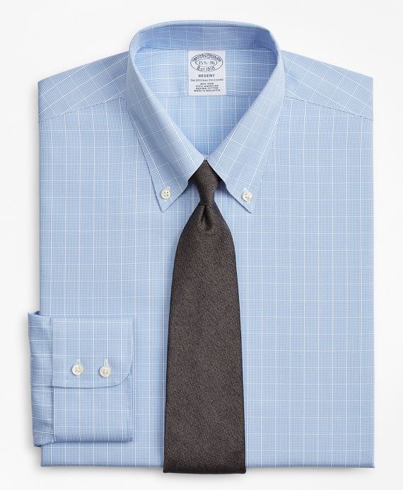 Regent Fitted Dress Shirt, Non-Iron Windowpane Blue