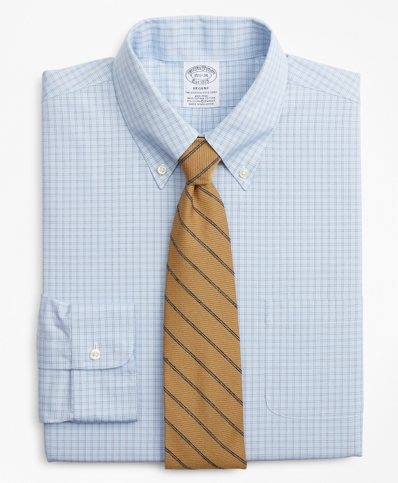 Stretch Regent Regular-Fit Dress Shirt, Non-Iron Check Blue