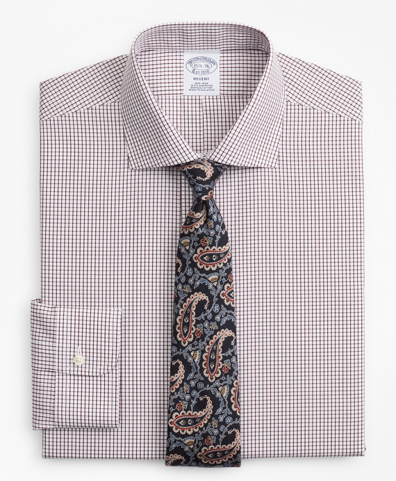 Regent Fitted Dress Shirt, Non-Iron Windowpane Fig