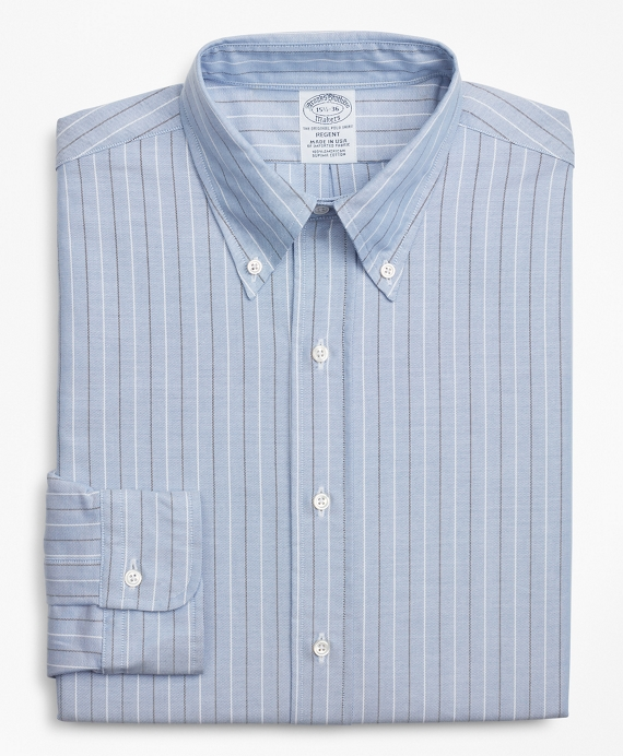 Original Polo® Button-Down Oxford Regent Fitted Dress Shirt, Stripe Blue