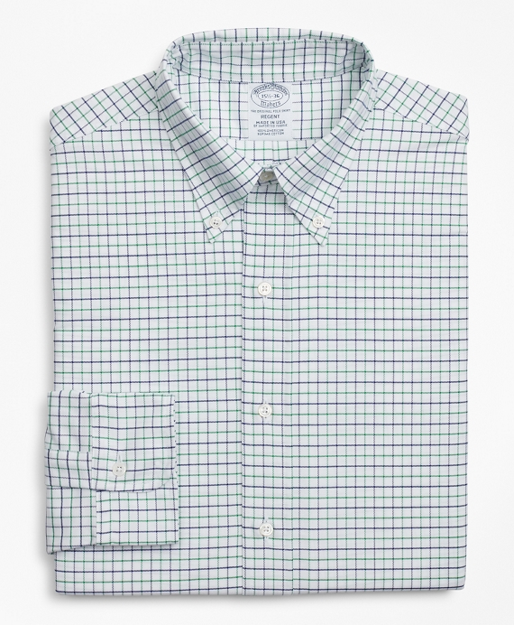 Original Polo® Button-Down Oxford Regent Fitted Dress Shirt, Windowpane Green-Navy