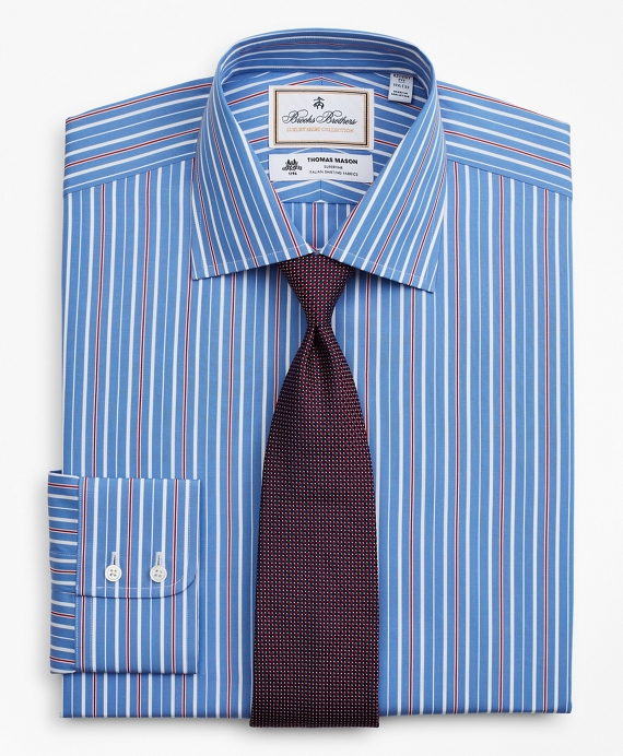 Luxury Collection Regent Fitted Dress Shirt, Franklin Spread Collar Multi-Stripe Blue