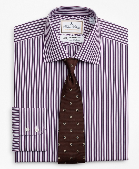 Luxury Collection Regent Fitted Dress Shirt, Franklin Spread Collar Double-Stripe Purple