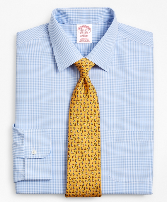 Madison Classic-Fit Dress Shirt, Non-Iron Glen Plaid Vista Blue