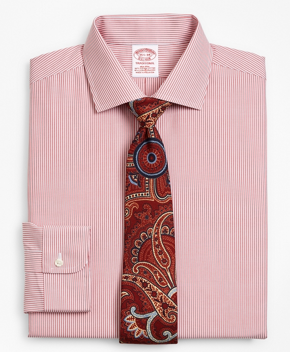 Stretch Traditional Relaxed-Fit Dress Shirt, Non-Iron Stripe Garnet