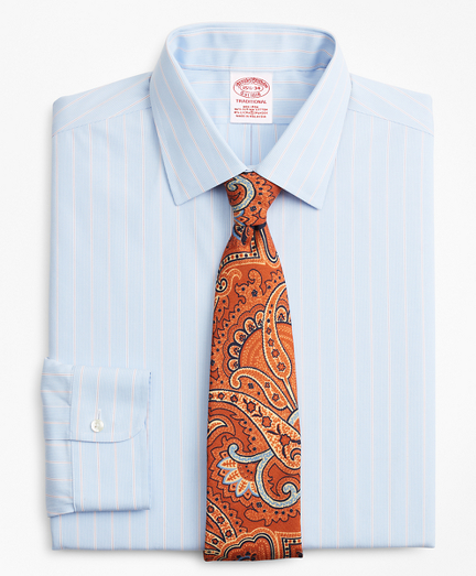 Stretch Traditional Extra-Relaxed-Fit Dress Shirt, Non-Iron Pinstripe