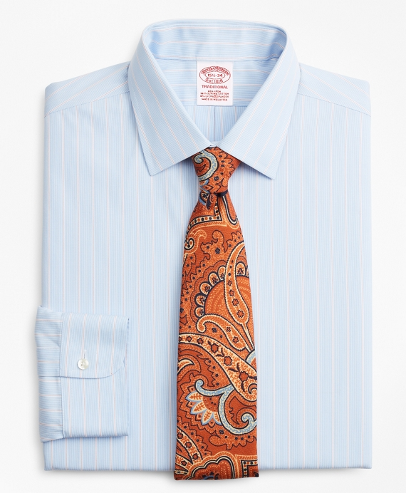 Stretch Traditional Relaxed-Fit Dress Shirt, Non-Iron Pinstripe