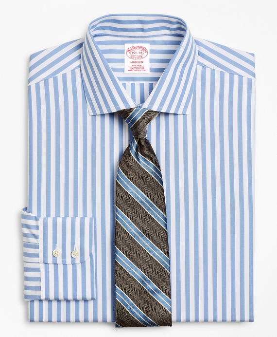 Madison Relaxed-Fit Dress Shirt, Non-Iron Stripe Vista Blue