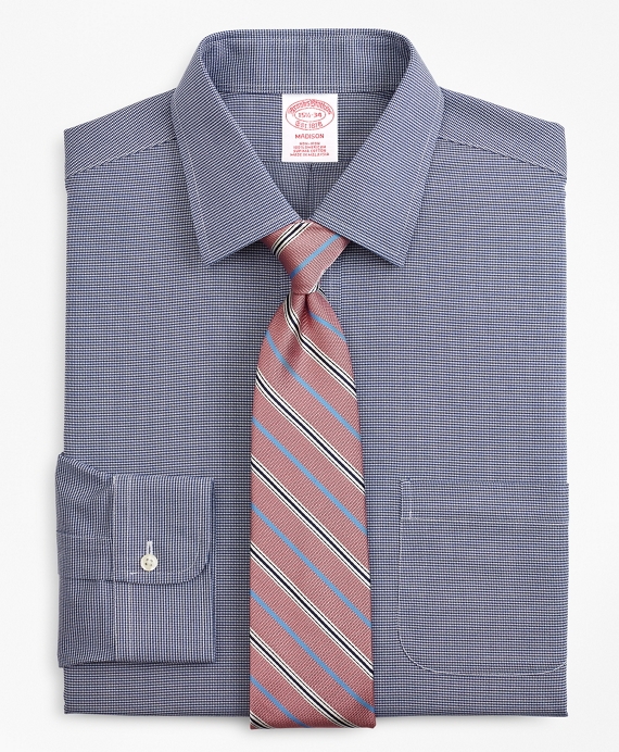 Madison Relaxed-Fit Dress Shirt, Non-Iron Micro-Check Navy