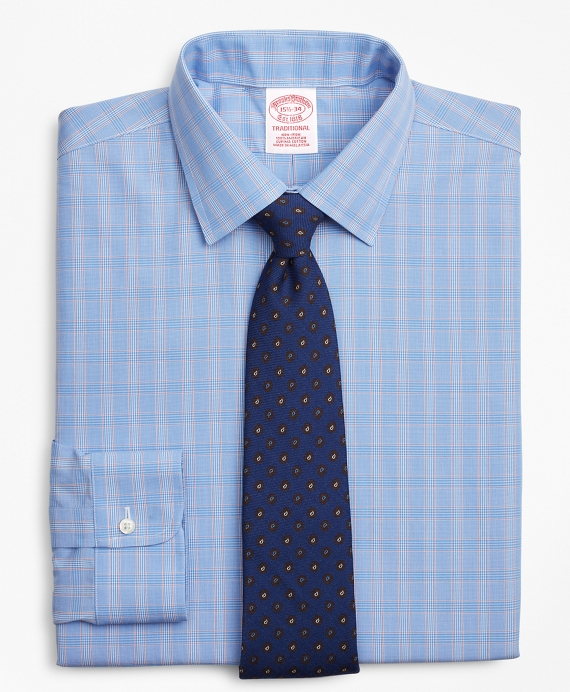 Traditional Relaxed-Fit Dress Shirt, Non-Iron Glen Plaid Blue