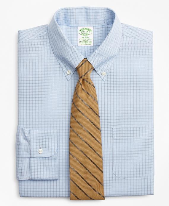 Stretch Milano Slim-Fit Dress Shirt, Non-Iron Check Blue
