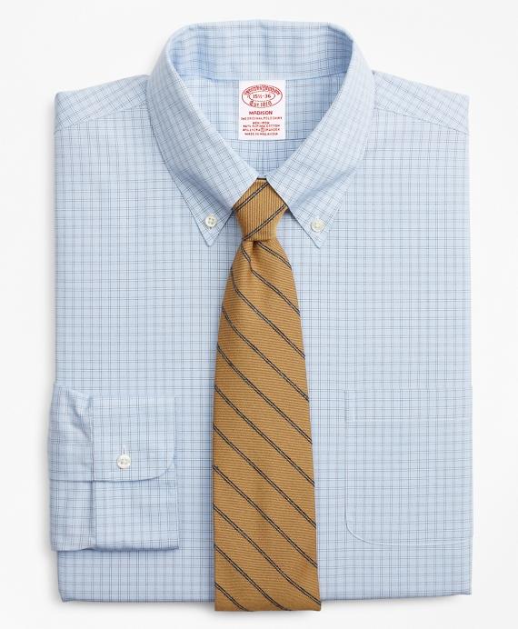Stretch Madison Classic-Fit Dress Shirt, Non-Iron Check Blue