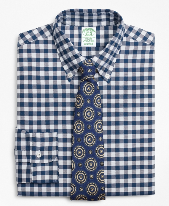 Original Polo® Button-Down Oxford Milano Slim-Fit Dress Shirt, Gingham Navy