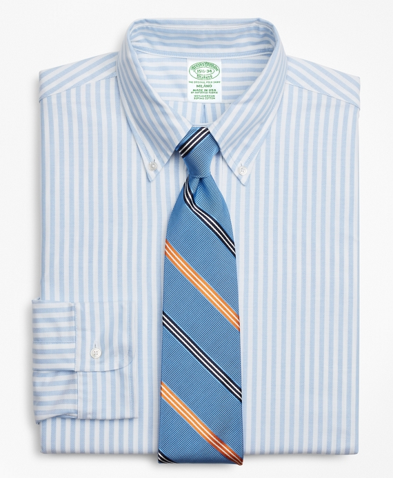 Original Polo® Button-Down Oxford Milano Slim-Fit Dress Shirt, Stripe Blue